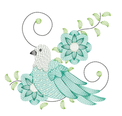 Rippled Dove & Flowers embroidery design