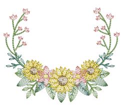 Rippled Sunflower Laurel embroidery design