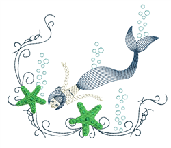 Rippled Swimming Mermaid embroidery design