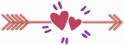 Valentine Hearts with Arrow embroidery design