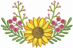 Sunflower with Leaves embroidery design