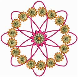 Flower Circles with Pink Leaves embroidery design