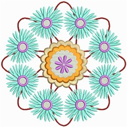 Blue Flower Circles embroidery design