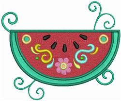 Watermelon with floral Decorations embroidery design