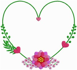 Heart Shaped Valentine Wreath embroidery design