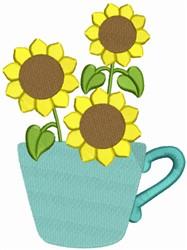 Sunflower Tea Cup embroidery design