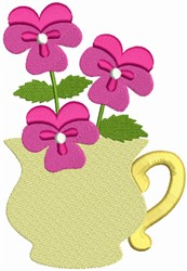 Flower Tea Cup embroidery design