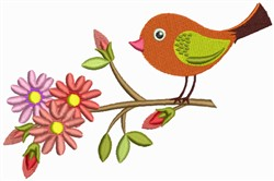 Flowers & Bird embroidery design