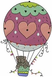 Hot Air Balloon and Bear embroidery design