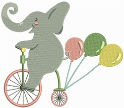 Elephant on a Cycle embroidery design