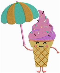 Ice Cream and Umbrella embroidery design