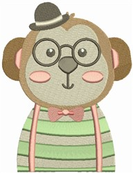Hipster Monkey embroidery design