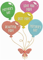 Mothers Day Balloons embroidery design