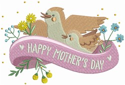 Happy Mothers Day Birds embroidery design