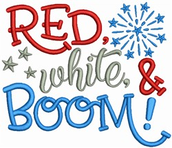 Red White & Boom embroidery design