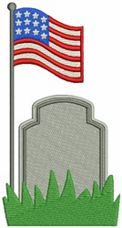 Tomb with US Flag embroidery design
