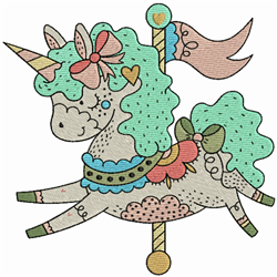 Carousel Unicorn embroidery design