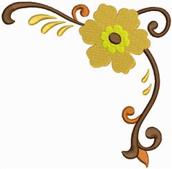 Yellow Flower Corner embroidery design