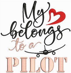 Heart Belongs To Pilot embroidery design