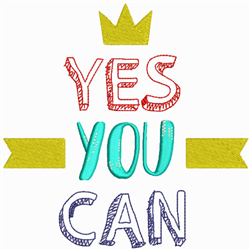 Yes You Can embroidery design