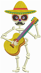 Mariachi Skeleton embroidery design