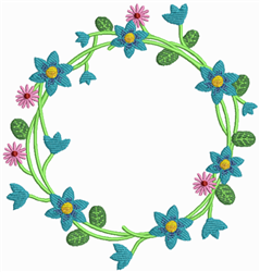Blue Floral Wreath embroidery design