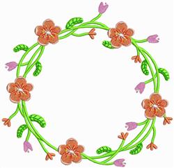 Orange Flower Wreath embroidery design