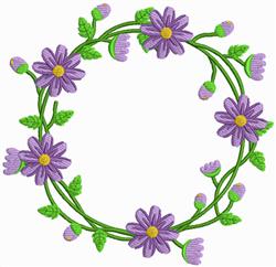 Purple Flower Wreath embroidery design