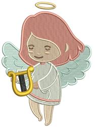 Harp Angel embroidery design