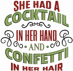 Cocktail And Confetti embroidery design