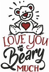 Love You Beary Much embroidery design