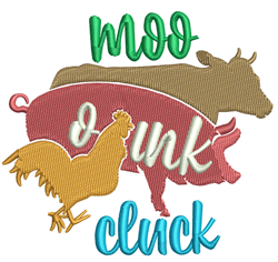 Moo Oink Cluck embroidery design