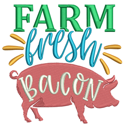 Farm Fresh Bacon embroidery design