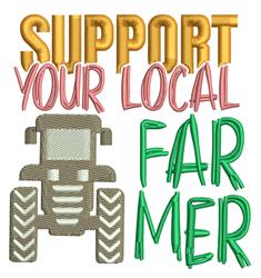 Support Local Farmer embroidery design
