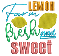 Farm Fresh Lemon embroidery design