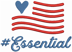 USA Essential Worker embroidery design