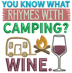 Camping With Wine embroidery design