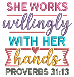 She Works Willingly embroidery design
