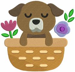 Puppy & Flower Basket embroidery design