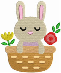 Bunny & Flower Basket embroidery design