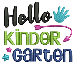 Hello Kindergarten embroidery design