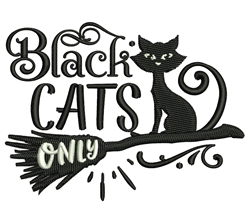 Black Cats Only embroidery design