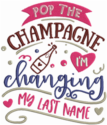 Pop The Champagne embroidery design