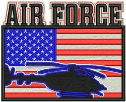 Air Force American Flag embroidery design
