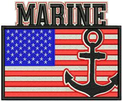 American Flag Marine embroidery design