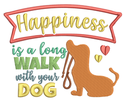 Happiness Is A Long Walk embroidery design