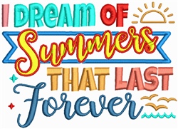 Summers That Last Forever embroidery design