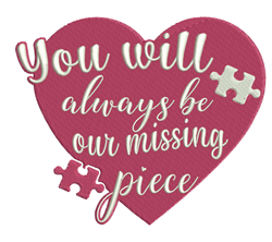 Our Missing Piece embroidery design