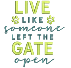 Left Gate Open embroidery design