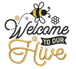 Welcome To Hive embroidery design